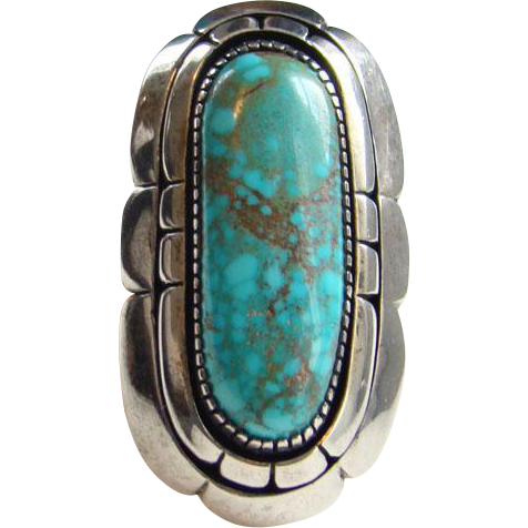 Native American Turquoise Sterling Silver Ring Size 7.75 Heavy 26 Grams