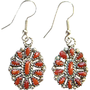 Southwestern Zuni Red Coral Petit Point Cluster Pierced Earrings Sterling Silver Native American