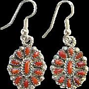 Southwestern Zuni Red Coral Cluster Pierced Earrings Sterling Silver Native American