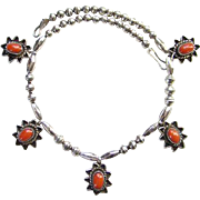Native American Pendant Necklace Coral and Sterling Silver Beads Indian Jewelry