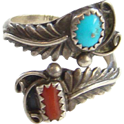 Navajo Ring Turquoise Coral Wrap By Pass Sterling Silver Size 8 Signed RB