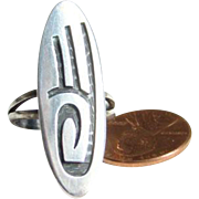 Hopi Lawrence Saufkie Sterling Silver Overlay Ring Size 6.5 Hard To Find Artist Signed