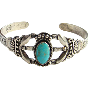 Fred Harvey Era Maisels Trading Post Turquoise Bracelet Sterling Silver Stamp Decorated Tourist Jewelry