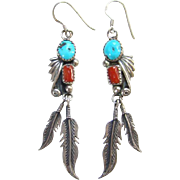 Native American Turquoise Coral Pierced Earrings Feather Dangles Signed V