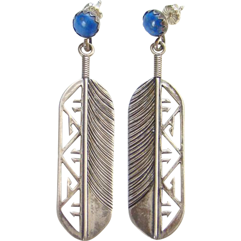 Vintage Southwestern Pierced Post Stud Earrings Blue Lapis Lazuli and Sterling Silver Feather Dangle