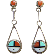 Native American Zuni Sun Face Inlay Pierced  Earrings Turquoise Coral Jet Shell Sterling Silver