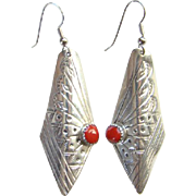 Southwestern Coral and Sterling Silver Pierced Dangle Earrings Stamp Decoration