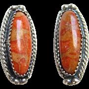 Vintage Southwestern Copper Orange Turquoise Sterling Silver Clip Earrings