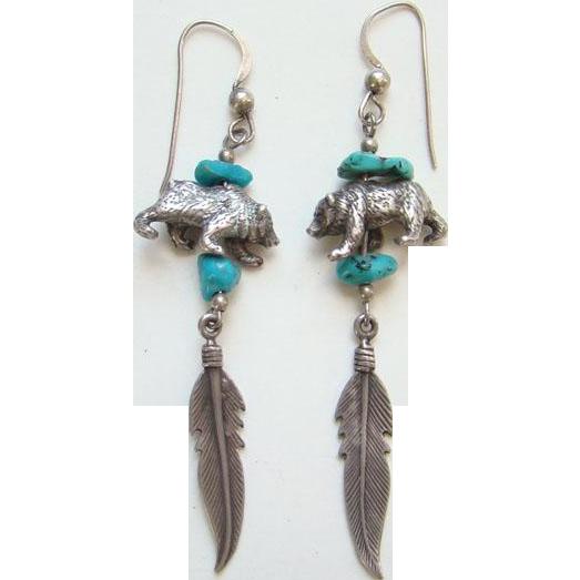Vintage Southwestern Turquoise Nugget Pierced Earrings Bear Feather Dangle Sterling Silver