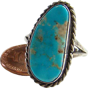 Native American Navajo Turquoise Ring Size 9.25 Sterling Silver Beautiful Stone