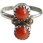 Southwestern Red Coral Sterling Silver Pinky Ring Size 4.75 Native American