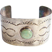 Vintage Sterling Turquoise Cuff Bracelet Stamp Decorated Southwestern Sheet Silver