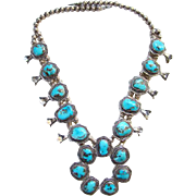 Southwestern Squash Blossom Necklace Morenci Turquoise Sterling Silver Native American Vintage