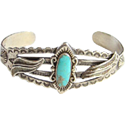 Bell Trading Post Navajo Turquoise Cuff Bracelet Sterling Silver Stamp Decoration Signed