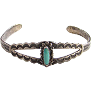 Vintage Bell Trading Post Turquoise Cuff Bracelet Sterling Silver Signed Arrow Stamp Decoration