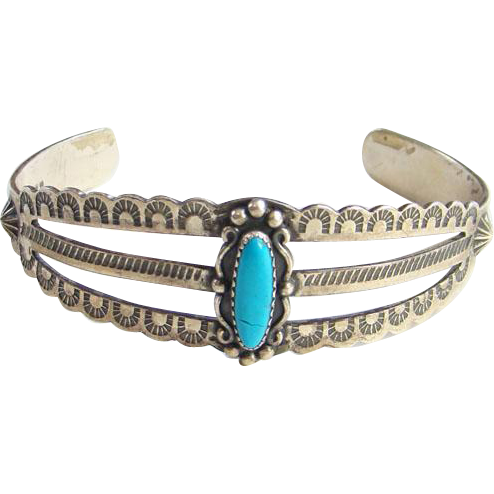 Vintage Turquoise Cuff Bracelet Sterling Silver Wheeler Manufacturing WM Mark South Dakota