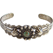Vintage Stamp Decorated Fred Harvey Era Turquoise Cuff Bracelet Sterling Silver Native American