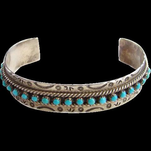 Signed JP Ukestine Native American Zuni Turquoise Cuff Bracelet Sterling Silver Southwestern