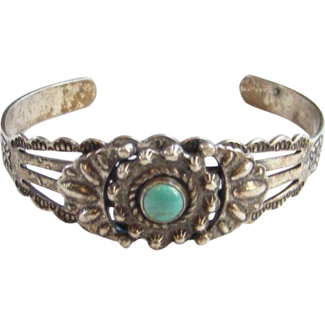Fred Harvey Era Turquoise Cuff Bracelet Sterling Silver Stamp Decorated Native American