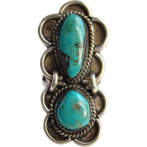 Vintage Native American Turquoise Ring Two Stones Sterling Silver Size 6.75
