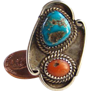 Southwestern Morenci Turquoise Red Coral Ring Sterling Silver Size 5.5 Native American
