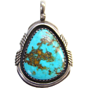 Southwestern Turquoise Shadowbox Necklace Pendant Sterling Silver Signed WD