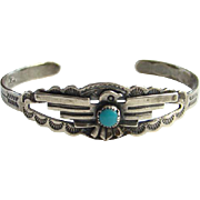 Bell Trading Post Thunderbird Turquoise Cuff Bracelet Fred Harvey Era Signed Sterling Silver