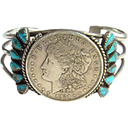Fred Harvey Era Navajo Morenci Turquoise 1921 Liberty Coin Morgan Dollar Cuff Bracelet Sterling Silver