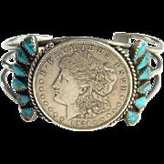 Fred Harvey Era Navajo Morenci Turquoise 1921 Liberty Coin Morgan Dollar Cuff Bracelet Sterling Silver