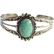 Fred Harvey Era Turquoise Cuff Bracelet Seafoam Green Stone Signed Sterling Native American