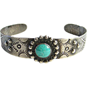 Native American Turquoise Cuff Bracelet Fred Harvey Era Stamp Decoration Signed Sterling Silver
