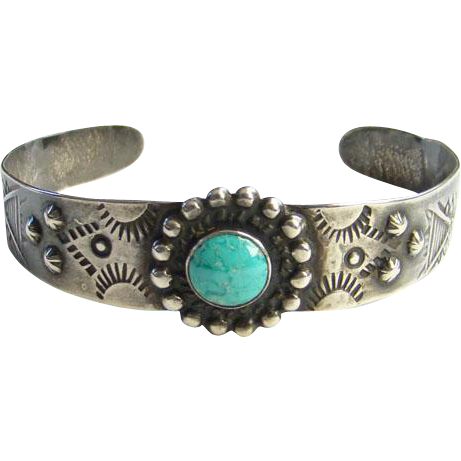 1940's Fred Harvey Kingman Turquoise Sterling Silver Cuff Bracelet Native American