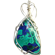 Sterling Silver Wire Wrapped Azurite Malachite Gemstone Necklace Pendant Abstract Design