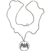 Eagle Quarter Cut Coin Pendant Necklace Sterling Silver