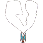 Native American Waterbird Chip Mosaic Pendant Necklace Turquoise Coral Signed Sterling Silver