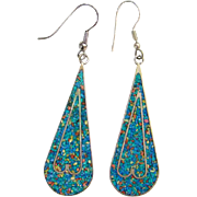 Vintage Mexico Alpaca Mosaic Chip Pierced Dangle Earrings Turquoise Coral Shell