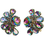 Vintage Watermelon Heliotrope Rhinestone Clip Earrings in Gold Tone Setting Gorgeous