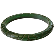 Vintage Deeply Carved Dark Green Translucent Bakelite Bangle Bracelet Tested Bakelite Jewelry Art Deco