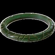 Vintage Deeply Carved Dark Green Translucent Bangle Bracelet