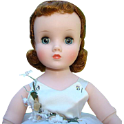 1957 Madame Alexander Elise Ballerina Doll in White Ballet Tutu Red Hair