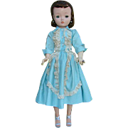 1957 Brunette Cissy Doll in Aqua Blue Polished Cotton Dress Madame Alexander