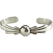 Vintage Southwestern Style Sterling Silver Cuff Bracelet with Central Orb