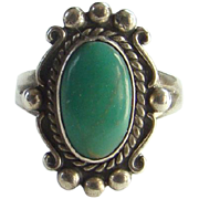Bell Trading Post Navajo Green Turquoise and Sterling Ring Size 5.75 Marked