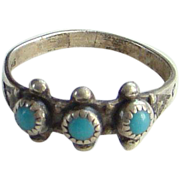 Bell Trading Post Zuni Snake Eye Turquoise Pinky or Child Ring Size 4.5 Sterling Silver