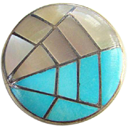 Vintage Zuni Pendant Brooch Channel Inlay Turquoise Mother of Pearl Signed MLT