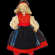 Vintage Charlotte Weibull Swedish Scandinavian Cloth Felt Costume Doll 6 Inch