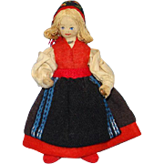 Vintage Charlotte Weibull Swedish Scandinavian Cloth Felt Costume Doll 6 Inch
