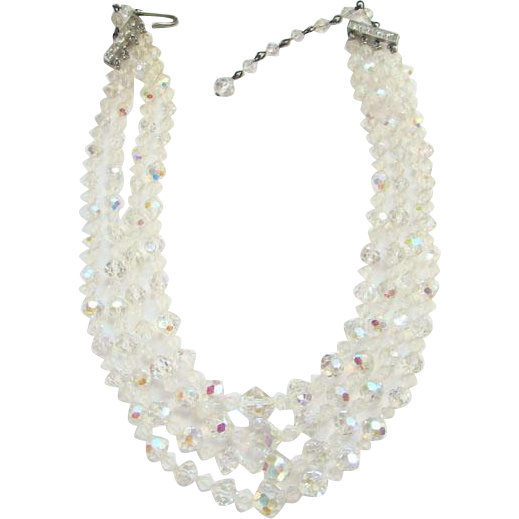 Vintage C1950s Four Strand Graduated Austrian Clear Aurora Borealis Crystal Bead Choker Necklace