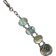 Old Victorian Edwardian Sterling Silver Abalone Mother of Pearl Watch Fob Necklace Pendant
