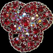 Vintage Ruby Red Rhinestone Large Brooch Pin Silvertone Costume Jewelry